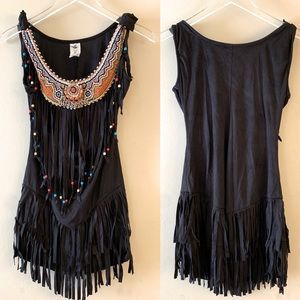 Black Faux Suede Dress With Beading & Fringe S